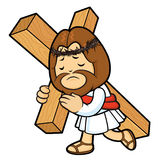 Jesus Character bears one´s cross. Royalty Free Stock Image