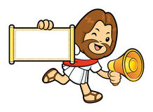 Jesus Character is communicate a news to Running. Royalty Free Stock Images