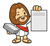 Jesus Character is distributing leaflets weekly. Royalty Free Stock Image