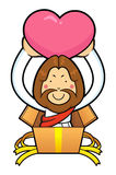 Jesus Character is in gift box and holding a heart. Royalty Free Stock Images