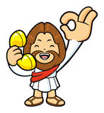 Jesus Character is handing OK gestures and be on the phone. Royalty Free Stock Photos