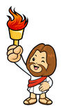 Jesus Character held a Flame Fire splashed high. Stock Photos