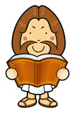 Jesus Character is holding a big Bible. Royalty Free Stock Photo