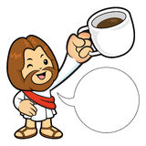 Jesus Character is holding a Coffee cup toast. Royalty Free Stock Photography