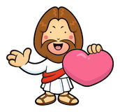 Jesus Character is holding a heart and guides gesture. Stock Images