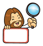 Jesus Character is holding a magnifier and board. Royalty Free Stock Photography