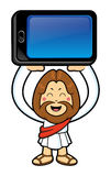 Jesus Character is holding a smart phone over heads. Stock Photo