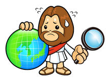 Jesus character looked at globes is an embarrassed. Royalty Free Stock Photos
