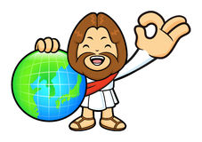 Jesus Character OK gestured is holding a globe. Royalty Free Stock Images