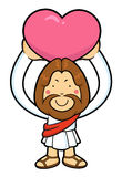 Jesus character is overhead holding a heart. Royalty Free Stock Images