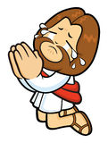 Jesus Character prayed and shed tears of repentance. Stock Image