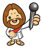 Jesus Character is spoken over a Microphone. Royalty Free Stock Photos