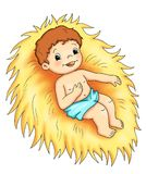 Jesus child. A tender Jesus child the night of Christmas stock illustration