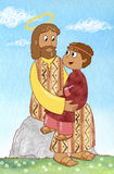 Jesus and child. Jesus with a young child sit on a rock. Digital illustration drawn using a graphic tablet and colored with a collage of watercolored papers Royalty Free Stock Photography