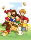 Jesus and children royalty free illustration