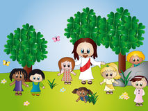 Jesus with children. Illustration of Jesus with children Stock Images