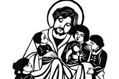 Jesus with children. Paper-cutting of Jesus with children in black-and-white.Black and white coloring illustration Royalty Free Stock Photography