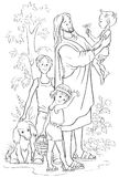 Jesus with Children. Coloring page Royalty Free Stock Photos