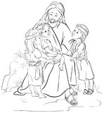 Jesus with Children. Coloring page Stock Photography