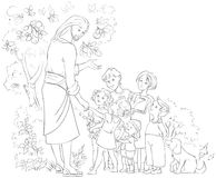Jesus With Children Coloring sida stock illustrationer