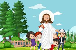 Jesus with children in the park. Illustration