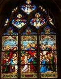 Jesus Children Stained Glass Saint Severin Church Paris France Fotografie Stock Libere da Diritti