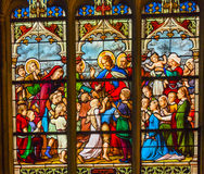 Jesus Children Stained Glass Saint Severin Church Paris France Immagini Stock Libere da Diritti
