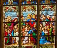 Jesus Children Stained Glass Saint Severin Church Paris France. Jesus Christ Children, Suffer the Little children to come to me, Stained Glass Saint Severin Royalty Free Stock Images