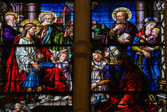 Jesus and children. Stained glass window depicting Jesus and children in the cathedral of Burgos, Castille, Spain Stock Photo