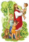 Jesus with children. Vector illustration in Christian theme Stock Images