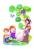 Jesus and children. Watercolor illustration. Royalty Free Stock Photos