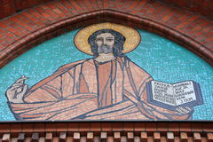 Jesus Christ. Mosaic of Jesus Christ found in the old church in Warsaw, Poland Royalty Free Stock Photography