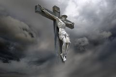 Jesus Christ. Photocomposition of Jesus Christ dying on the cross vector illustration