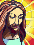 Jesus Christ. Portrait of Jesus Christ in stained glass Royalty Free Stock Photo