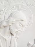 Jesus christ. On white marble tombstone Stock Photos