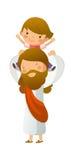 Jesus Christ. Carrying boy on shoulder Royalty Free Stock Images