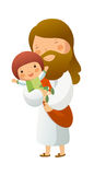 Jesus Christ. Is holding a girl Stock Image