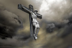 Jesus Christ. Photo-composition of Jesus Christ dying on the cross Royalty Free Stock Images