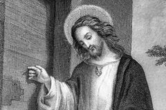 Jesus Christ. Half body portrait of Jesus Christ from 19th century steel engraving in Public Domain Royalty Free Stock Photos
