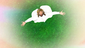 Jesus Christ From Above Illustration. Jesus Christ with open arms embracing the sky Royalty Free Stock Photo