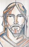 Jesus Christ affronta Fotografia Stock