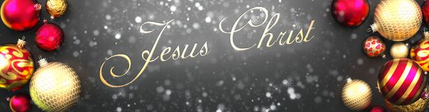 Free Jesus Christ And Christmas,fancy Black Background Card With Christmas Ornament Balls, Snow And An Elegant Word Jesus Christ, 3d Royalty Free Stock Photography - 204822207