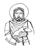 Jesus Christ as Good Shepherd carrying a sheep Stock Image