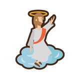 Jesus christ ascension pray line Stock Image