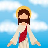 Jesus christ ascension sky background. Vector illustration Royalty Free Stock Photography