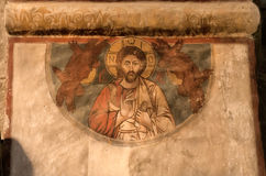 Jesus Christ auf dem alten georgischen Fresko von Svetitskhoveli-Kathedrale, errichtet im 4. Jahrhundert stockfotografie
