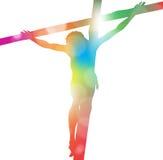Jesus Christ auf Kreuz in der bunten Zusammenfassung. Stockfoto