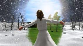 Jesus Christ av Nazareth Rebukes Snowstorm Illustration royaltyfri illustrationer