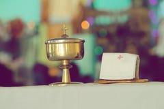 Jesus Christ on Sacramental Jar. A Beautiful Photo of jesus christ symbol on Sacramental jar Stock Photography