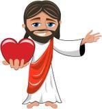Jesus Christ Big Heart Love aisló Foto de archivo